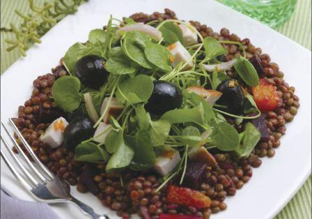 Smoked Turkey Ripe Olive and Lentil Salad